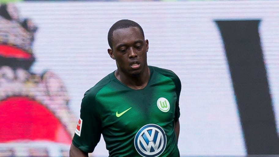 WOLFSBURG, GERMANY - AUGUST 25: Jerome Roussillon of Wolfsburg controls the ball during the Bundesliga match between VfL Wolfsburg and FC Schalke 04 at Volkswagen Arena on August 25, 2018 in Wolfsburg, Germany. (Photo by TF-Images/Getty Images)