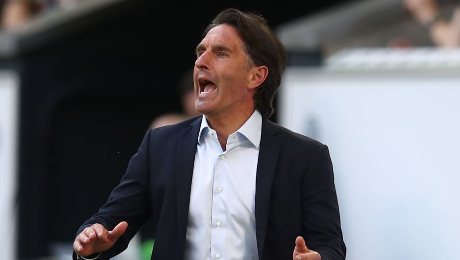 WOLFSBURG, GERMANY - APRIL 28:  Head coach Bruno Labbadia of Wolfsburg gesticulated during the Bundesliga match between VfL Wolfsburg and Hamburger SV at Volkswagen Arena on April 28, 2018 in Wolfsburg, Germany.  (Photo by Oliver Hardt/Bongarts/Getty Images)