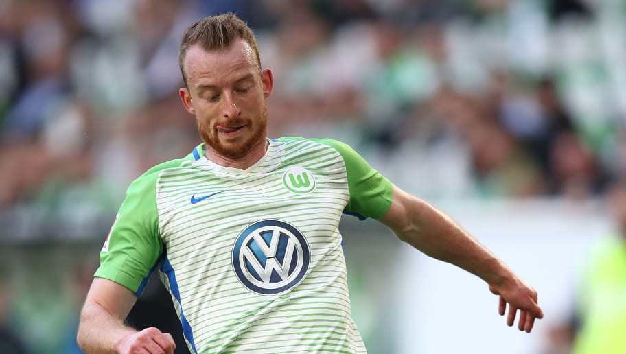 WOLFSBURG, GERMANY - APRIL 28: Maximilian Arnold of Wolfsburg in action during the Bundesliga match between VfL Wolfsburg and Hamburger SV at Volkswagen Arena on April 28, 2018 in Wolfsburg, Germany.  (Photo by Oliver Hardt/Bongarts/Getty Images)