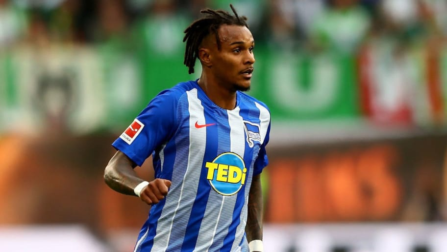 WOLFSBURG, GERMANY - SEPTEMBER 15:  Valentino Lazaro of Berlin runs with the ball during the Bundesliga match between VfL Wolfsburg and Hertha BSC at Volkswagen Arena on September 15, 2018 in Wolfsburg, Germany.  (Photo by Martin Rose/Bongarts/Getty Images)