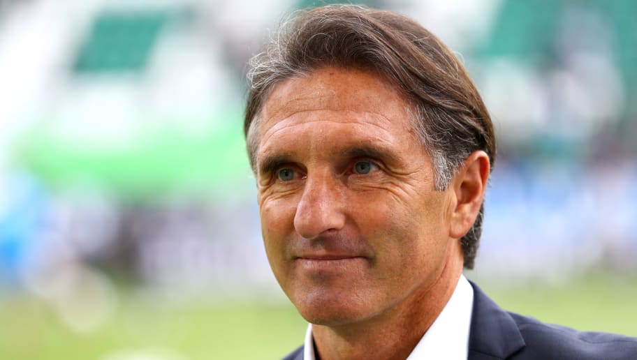 WOLFSBURG, GERMANY - SEPTEMBER 15:  Bruno Labbadia, Manager of Vfl Wolfsburg arrives ahead of the Bundesliga match between VfL Wolfsburg and Hertha BSC at Volkswagen Arena on September 15, 2018 in Wolfsburg, Germany.  (Photo by Martin Rose/Bongarts/Getty Images)