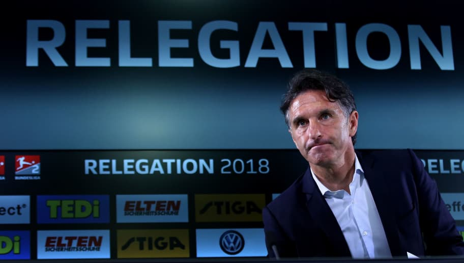WOLFSBURG, GERMANY - MAY 17: Head coach Bruno Labbadia of Wolfsburg attends the press conference after the Bundesliga Playoff Leg 1 match between VfL Wolfsburg and Holstein Kiel at Volkswagen Arena on May 17, 2018 in Wolfsburg, Germany. (Photo by Ronny Hartmann/Bongarts/Getty Images)
