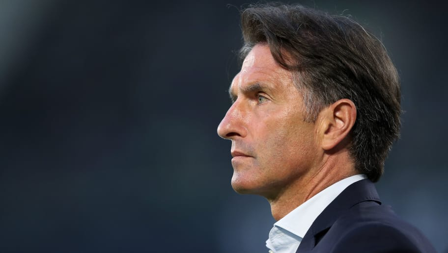 WOLFSBURG, GERMANY - MAY 17: Wolfsburg's head coach Bruno Labbadia looks on prior to the Bundesliga Playoff Leg 1 match between VfL Wolfsburg and Holstein Kiel at Volkswagen Arena on May 17, 2018 in Wolfsburg, Germany. (Photo by Ronny Hartmann/Bongarts/Getty Images)