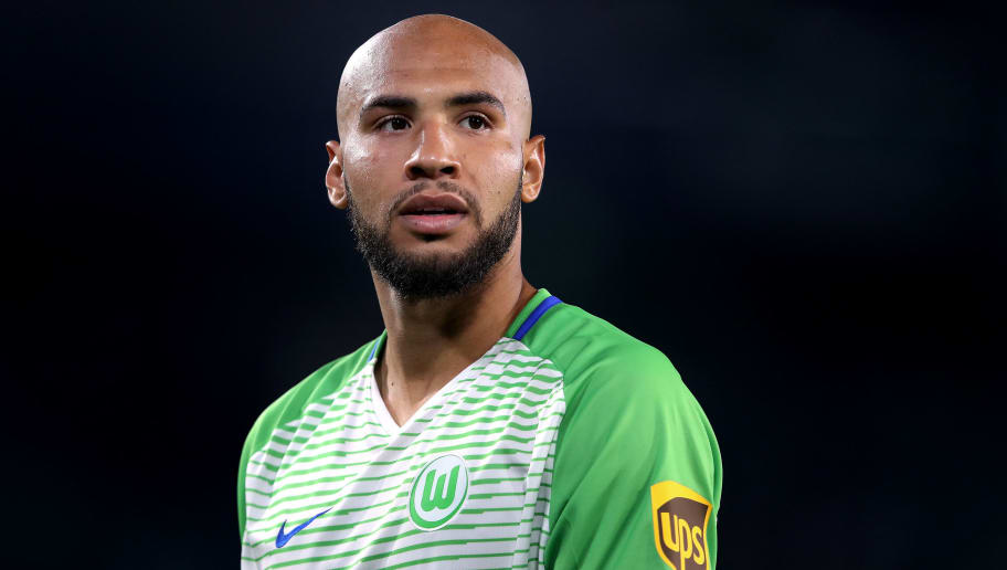 WOLFSBURG, GERMANY - MAY 17: John Anthony Brooks of Wolfsburg looks on during the Bundesliga Playoff Leg 1 match between VfL Wolfsburg and Holstein Kiel at Volkswagen Arena on May 17, 2018 in Wolfsburg, Germany. (Photo by Ronny Hartmann/Bongarts/Getty Images)
