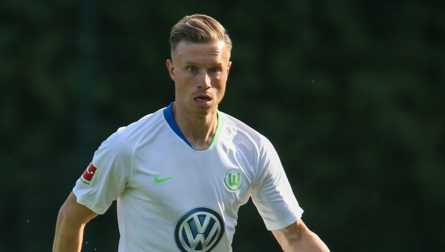 BARSINGHAUSEN, GERMANY - JULY 19: Yannick Gerhardt of Wolfsburg in action during the pre-season friendly match between VfL Wolfsburg and Norwich City at August-Wenzel-Stadium on July 19, 2018 in Barsinghausen, Germany. (Photo by Cathrin Mueller/Bongarts/Getty Images)