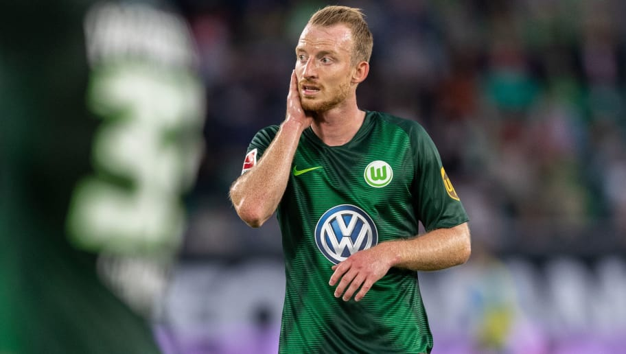 WOLFSBURG, GERMANY - AUGUST 11: Maximilian Arnold of VfL Wolfsburg reacts during the Pre Season friendly match between VfL Wolfsburg and SSC Napoli at Volkswagen Arena on August 11, 2018 in Wolfsburg, Germany. (Photo by Boris Streubel/Getty Images)