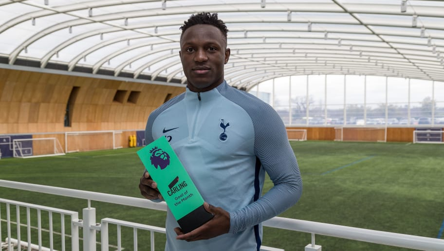 ENFIELD, ENGLAND - MARCH 08: Victor Wanyama of Tottenham Hotspur poses with the trophy for Carling Premier League Goal of the Month for February 2018 at  on March 8, 2018 in Enfield, England. (Photo by Paul Harding/Getty Images for Premier League )