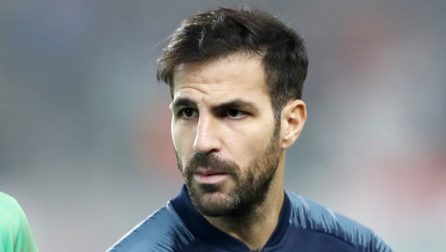 BUDAPEST, HUNGARY - DECEMBER 13: Cesc Fabregas of Chelsea FC waits for the kick-off prior to the UEFA Europa League Group Stage Match between Vidi FC and Chelsea FC at Ferencvaros Stadium on December 13, 2018 in Budapest, Hungary. (Photo by Laszlo Szirtesi/Getty Images)