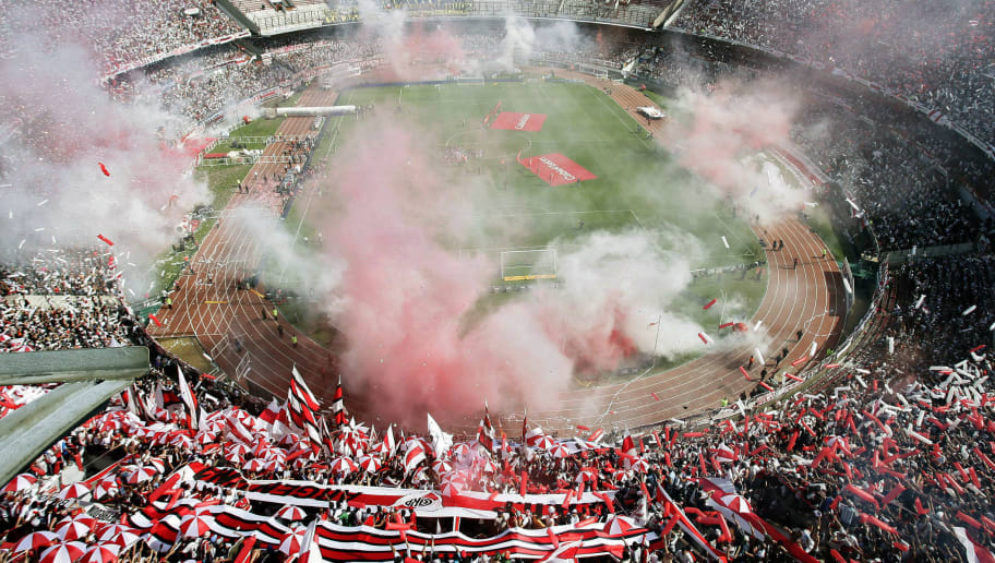 View of 'El Monumental' stadium in Buenos Aires on October 19, 2008, before the start of Argentina's first division football match between River Plate and Boca Juniors. Boca won 1-0.  AFP PHOTO / POOL / MAXI FAILLA (Photo credit should read Maxi Failla/AFP/Getty Images)