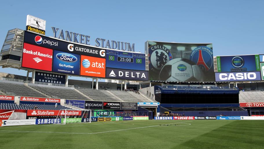 View of Yankee Stadium in the Bronx borough of New York before the friendly soccer match between Paris Saint-Germain and Chelsea FC on July 22, 2012.     AFP PHOTO/Mehdi Taamallah        (Photo credit should read MEHDI TAAMALLAH/AFP/GettyImages)
