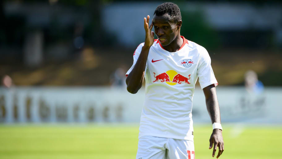 COLOGNE, GERMANY - AUGUST 19: Bruma of RB Leipzig looks on during the DFB Cup first round match between Viktoria Koeln and RB Leipzig at Sportpark Hoehenberg on August 19, 2018 in Cologne, Germany. (Photo by TF-Images/Getty Images)