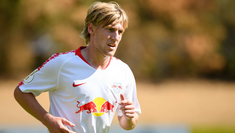 COLOGNE, GERMANY - AUGUST 19: Emil Forsberg of RB Leipzig looks on during the DFB Cup first round match between Viktoria Koeln and RB Leipzig at Sportpark Hoehenberg on August 19, 2018 in Cologne, Germany. (Photo by TF-Images/Getty Images)