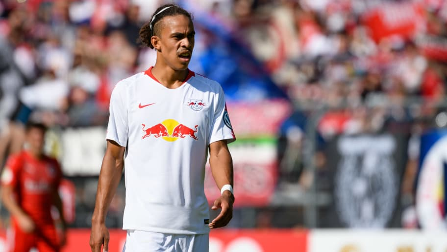 COLOGNE, GERMANY - AUGUST 19: Yussuf Poulsen of RB Leipzig looks on during the DFB Cup first round match between Viktoria Koeln and RB Leipzig at Sportpark Hoehenberg on August 19, 2018 in Cologne, Germany. (Photo by TF-Images/Getty Images)