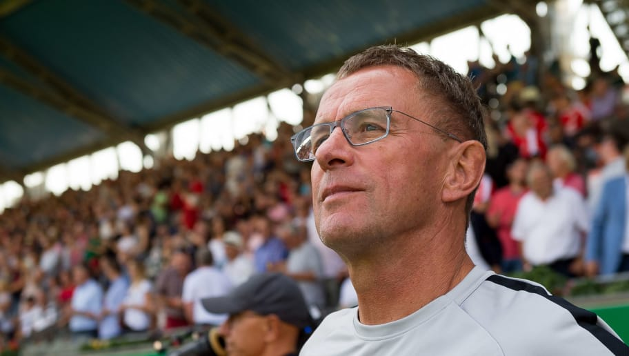 COLOGNE, GERMANY - AUGUST 19: Head coach Ralf Rangnick of RB Leipzig looks on prior to the DFB Cup first round match between Viktoria Koeln and RB Leipzig at Sportpark Hoehenberg on August 19, 2018 in Cologne, Germany. (Photo by TF-Images/Getty Images)