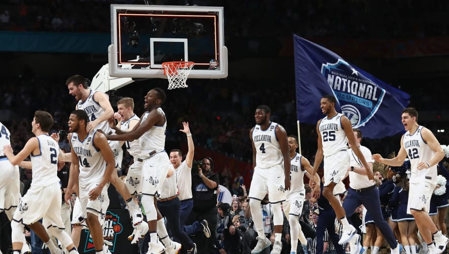 SAN ANTONIO, TX - APRIL 02:  The Villanova Wildcats celebrate after defeating the Michigan Wolverines during the 2018 NCAA Men's Final Four National Championship game at the Alamodome on April 2, 2018 in San Antonio, Texas. Villanova defeated Michigan 79-62.  (Photo by Ronald Martinez/Getty Images)
