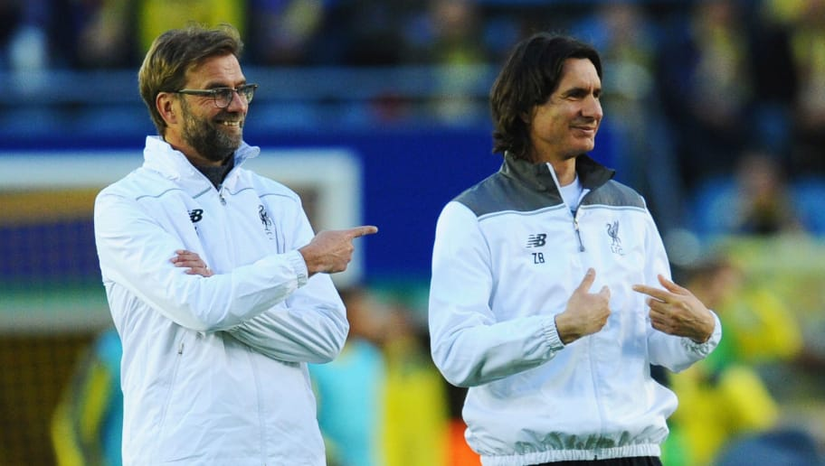 VILLARREAL, SPAIN - APRIL 28:  Jurgen Klopp manager of Liverpool and asistant manager Zeljko Buvac look on prior to the UEFA Europa League semi final first leg match between Villarreal CF and Liverpool at Estadio El Madrigal on April 28, 2016 in Villarreal, Spain.  (Photo by David Ramos/Getty Images)