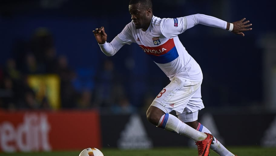 VILLAREAL, SPAIN - FEBRUARY 22:  Tanguy Ndombele of Olympique Lyon in action during UEFA Europa League Round of 32 match between Villarreal and Olympique Lyon at the Estadio de la Ceramica on February 22, 2018 in Villareal, Spain.  (Photo by Quality Sport Images/Getty Images)