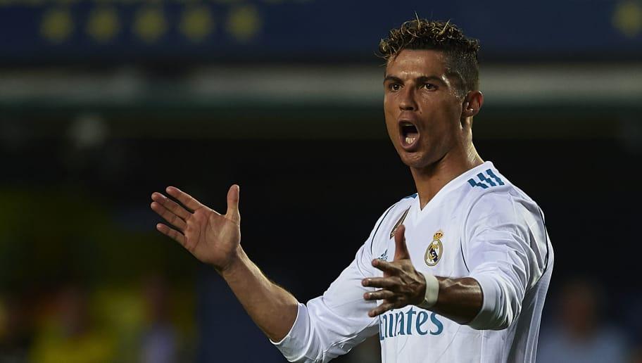 VILLARREAL, SPAIN - MAY 19:  Cristiano Ronaldo of Real Madrid reacts during the La Liga match between Villarreal and Real Madrid at Estadio de La Ceramica on May 19, 2018 in Villarreal, Spain.  (Photo by Manuel Queimadelos Alonso/Getty Images)