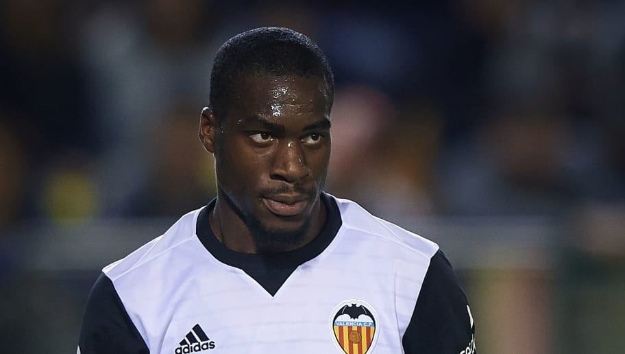 VILLARREAL, SPAIN - MAY 05:  Geoffrey Kondogbia of Valencia reacts during the La Liga match between Villarreal and Valencia at Estadio de la Ceramica on May 5, 2018 in Villarreal, Spain.  (Photo by Quality Sport Images/Getty Images)