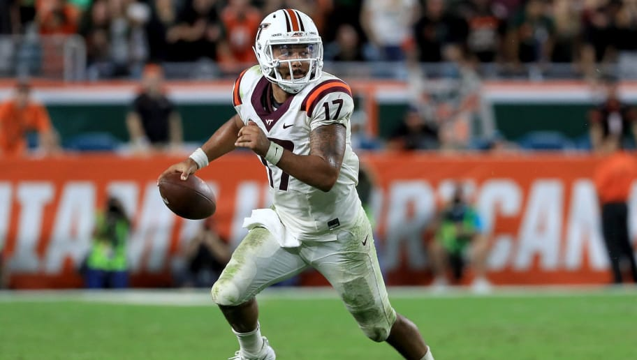 MIAMI GARDENS, FL - NOVEMBER 04:  Josh Jackson #17 of the Virginia Tech Hokies rushes during a game Miami Hurricanes at Hard Rock Stadium on November 4, 2017 in Miami Gardens, Florida.  (Photo by Mike Ehrmann/Getty Images)