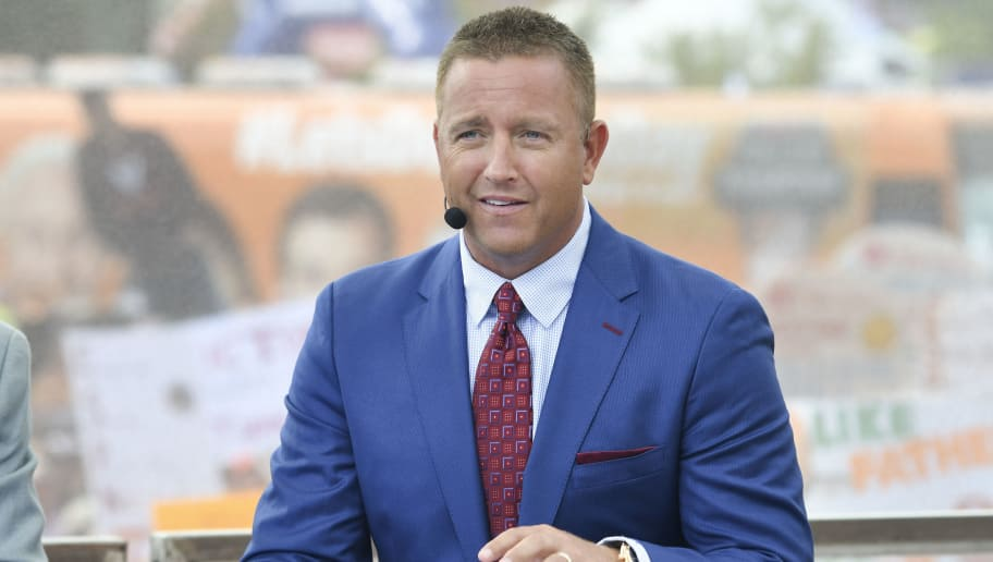 BRISTOL, TN - SEPTEMBER 10: ESPN's Kirk Herbstreit on set during College Gameday prior to the game between the Virginia Tech Hokies and the Tennessee Volunteers at Bristol Motor Speedway on September 10, 2016 in Bristol, Tennessee. (Photo by Michael Shroyer/Getty Images)