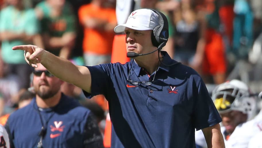 MIAMI GARDENS, FL - NOVEMBER 18: Head coach Bronco Mendenhall of the Virginia Cavaliers reacts to second quarter action against the Miami Hurricanes on November 18, 2017 at Hard Rock Stadium in Miami Gardens, Florida. Miami defeated Virginia 44-28. (Photo by Joel Auerbach/Getty Images)