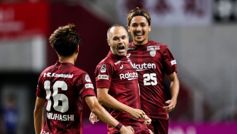 KOBE, JAPAN - AUGUST 15:  (EDITORIAL USE ONLY) #8 Andres Iniesta celebrates his scoring during the J.League J1 match between Vissel Kobe and Sanfrecce Hiroshima at Noevir Stadium Kobe on August 15, 2018 in Kobe, Hyogo, Japan.  (Photo by Zhizhao Wu/Getty Images)