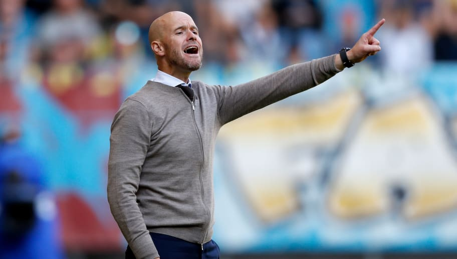 ARNHEM, NETHERLANDS - SEPTEMBER 2: coach Erik ten Hag of Ajax  during the Dutch Eredivisie  match between Vitesse v Ajax at the GelreDome on September 2, 2018 in Arnhem Netherlands (Photo by Edwin van Zandvoort/Soccrates/Getty Images)