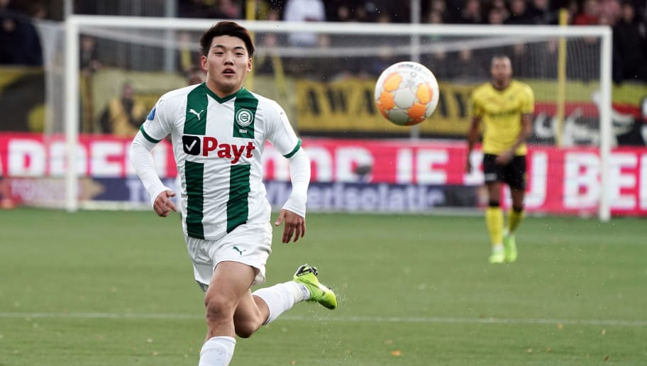 VENLO, NETHERLANDS - DECEMBER 09: Ritsu Doan of FC Groningen in action during the Eredivisie match between VVV-Venlo and Groningen at Seacon Stadion - De Koel on December 9, 2018 in Venlo, Netherland  (Photo by Koji Watanabe/Getty Images)