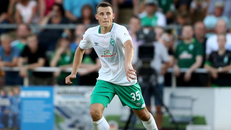 LOHNE BEI VECHTA, GERMANY - JULY 30: Maximilian Eggesteinof Bremen runs with the ball during the Pre Season Friendly Match between VVV Venlo and Werder Bremen at Heinz-Dettmer-Stadion Lohne on July 30, 2018 in Lohne bei Vechta, Germany. (Photo by Christof Koepsel/Getty Images)