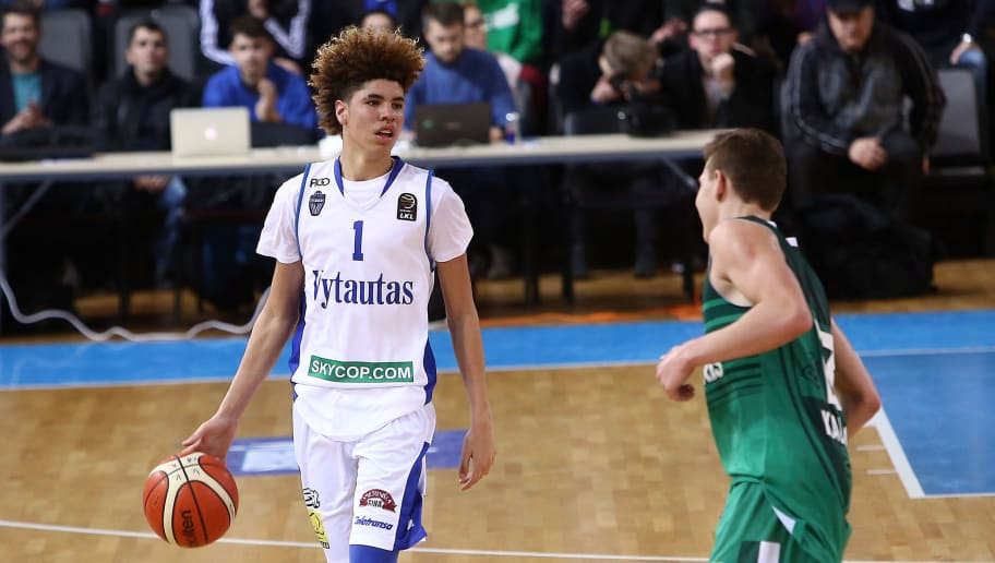 PRIENAI, LITHUANIA - JANUARY 09:  LaMelo Ball of Vytautas Prienai in action during the match between Vytautas Prienai and Zalgiris Kauno on January 9, 2018 in Prienai, Lithuania.  (Photo by Alius Koroliovas/Getty Images)