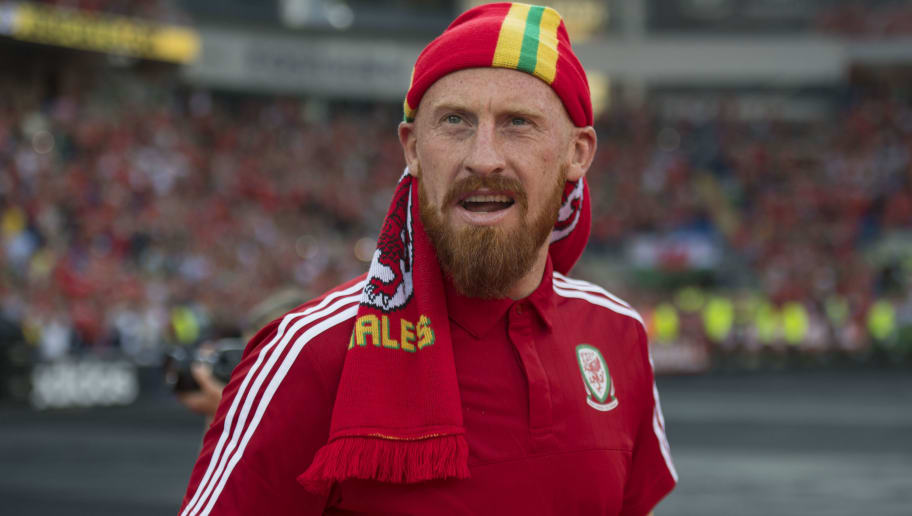 CARDIFF, WALES - JULY 08: Wales' James Collins walks out into the stadium during a ceremony at the Cardiff City Stadium on July 8, 2016 in Cardiff, Wales. The players toured the streets of Cardiff in an open top bus before arriving at the Cardiff City Stadium for an after party for which 33,000 tickets have been sold. Wales historic run in Euro 2016 saw them reach the semi-finals, before being knocked out 2-0 by Portugal at Stade de Lyon in France. (Photo by Matthew Horwood/Getty Images)