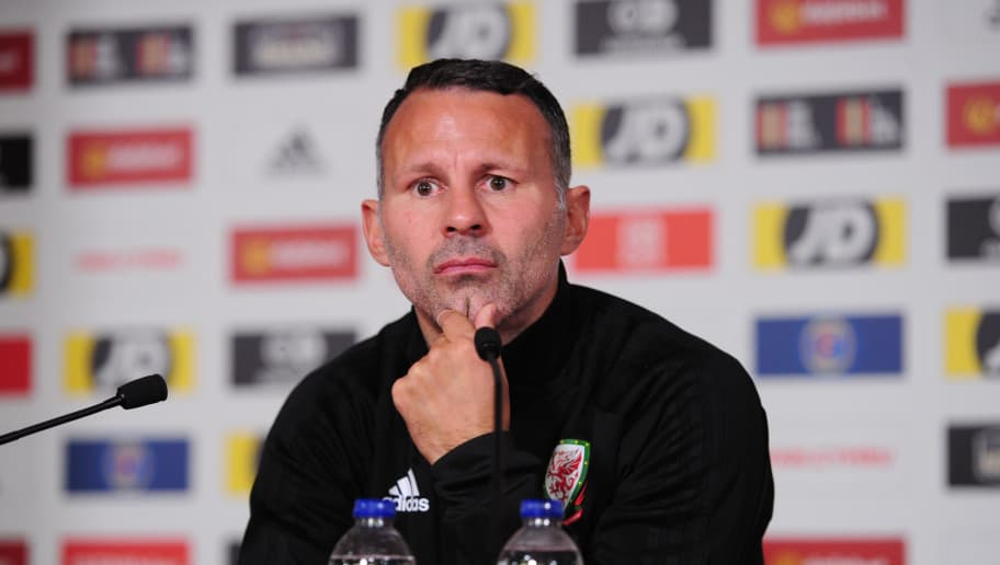 CARDIFF, WALES - OCTOBER 10: Ryan Giggs Manager of Wales during the Wales Press Conference at The Principality Stadium on October 10, 2018 in Cardiff, Wales. (Photo by Athena Pictures/Getty Images)
