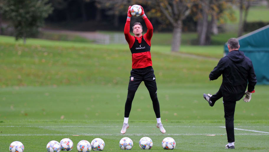 CARDIFF, WALES -  OCTOBER 8: Wayne Hennessey of  Wales in action during the Wales Training Session at The Vale Resort on October 8, 2018 in Cardiff, Wales. (Photo by Athena Pictures/Getty Images)