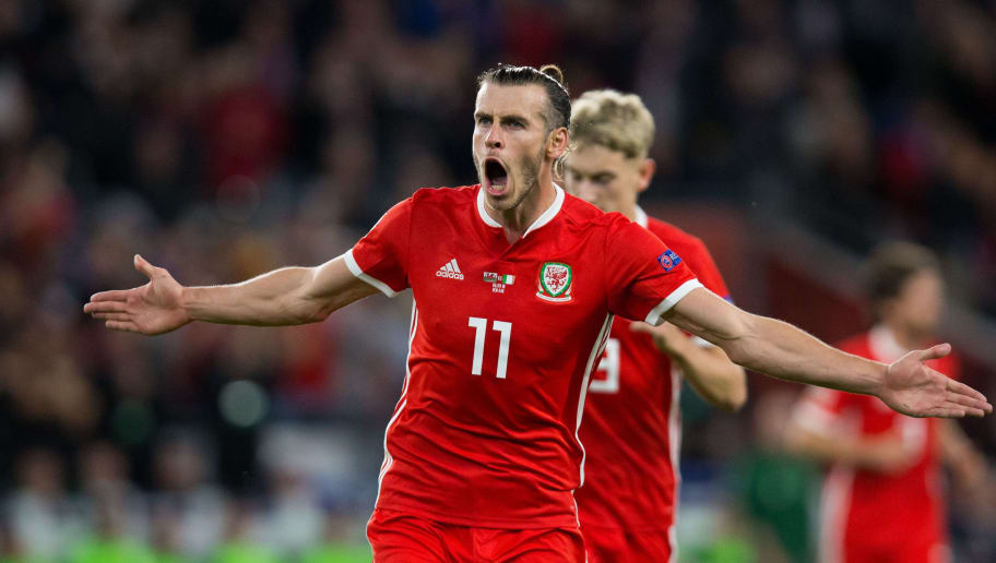 CARDIFF, WALES - SEPTEMBER 06: Gareth Bale of Wales celebrates scoring his side's second goal during the UEFA Nations League B group four match between Wales and Ireland at Cardiff City Stadium on September 6, 2018 in Cardiff, United Kingdom. (Photo by Craig Mercer/MB Media/Getty Images)