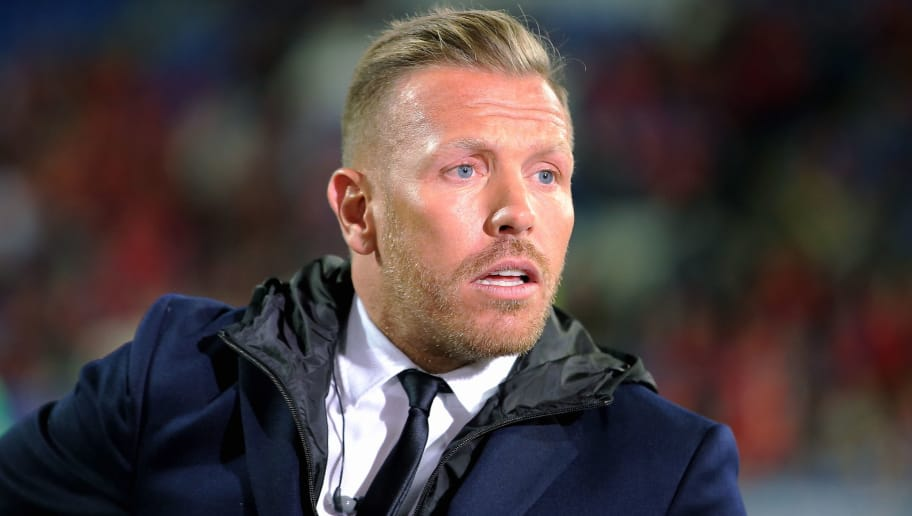 CARDIFF, WALES - OCTOBER 09: Craig Bellamy is interviewed on tv during the FIFA World Cup Qualifier Group D match between Wales and Republic of Ireland at The Cardiff City Stadium on October 09, 2017 in Cardiff, Wales. (Photo by Athena Pictures/Getty Images)