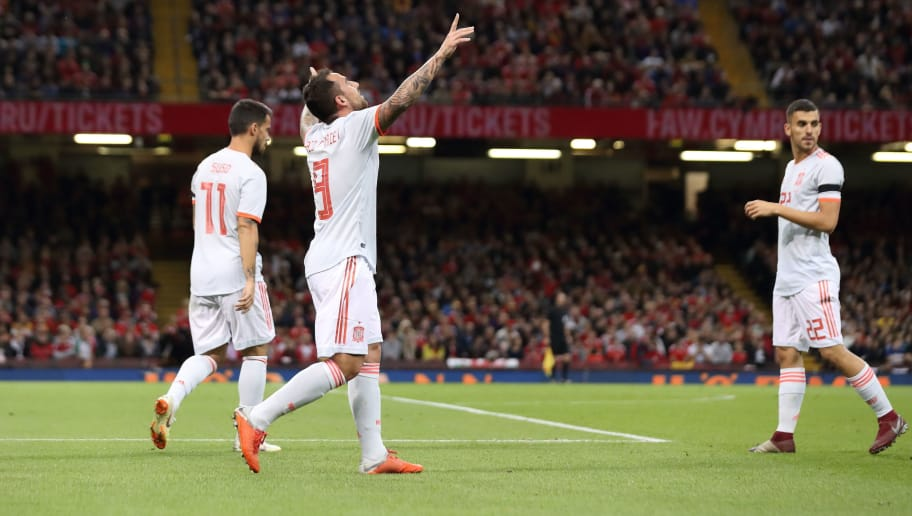 CARDIFF, WALES - OCTOBER 11: Paco Alcacer of Spain celebrates after scoring a goal to make it 1-0 during the International Friendly match between Wales and Spain on October 11, 2018 in Cardiff, United Kingdom. (Photo by James Williamson - AMA/Getty Images)