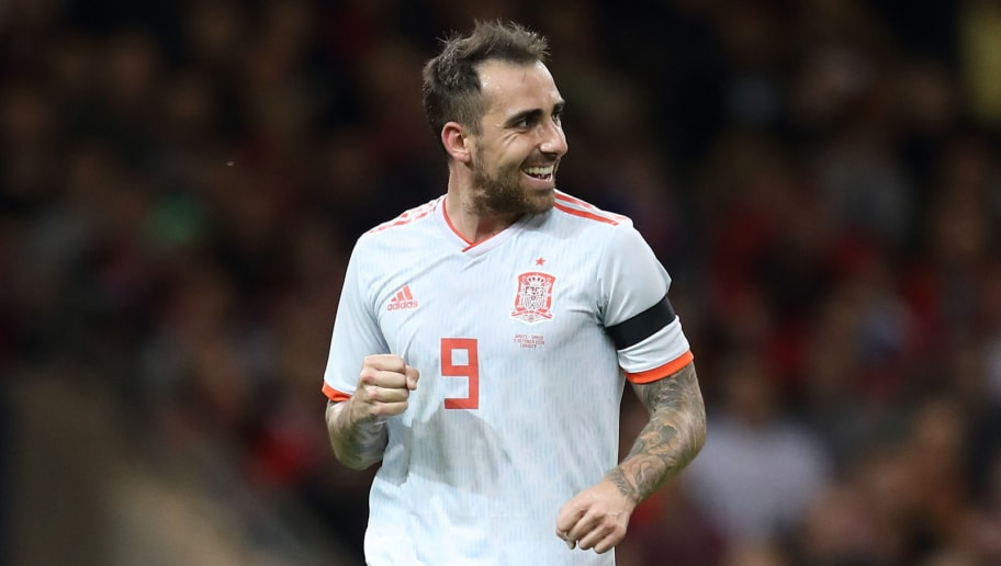 CARDIFF, WALES - OCTOBER 11: Paco Alcacer of Spain celebrates after scoring a goal to make it 3-0 during the International Friendly match between Wales and Spain on October 11, 2018 in Cardiff, United Kingdom. (Photo by James Williamson - AMA/Getty Images)