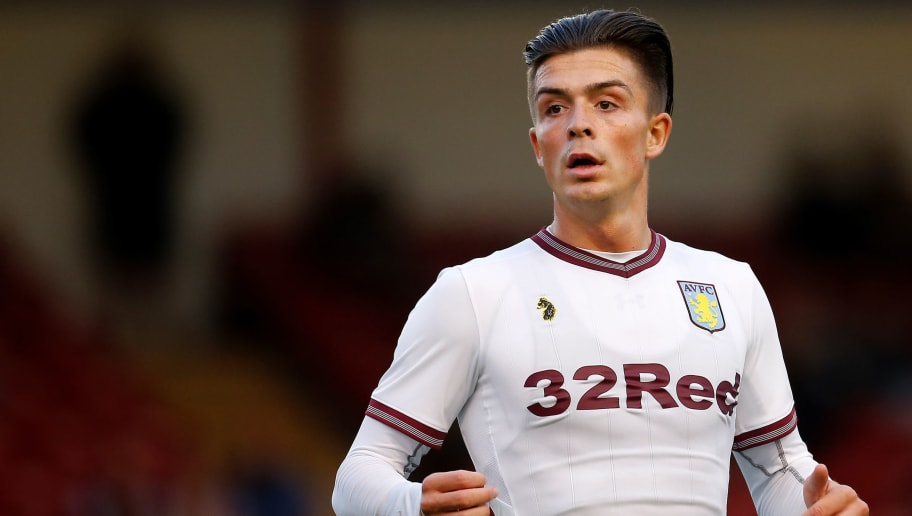 WALSALL, ENGLAND - JULY 17: Jack Grealish of Aston Villa during the pre-season friendly between Walsall and Aston Villa at the Banks' Stadium on July 17, 2018 in Walsall, England. (Photo by Malcolm Couzens/Getty Images)