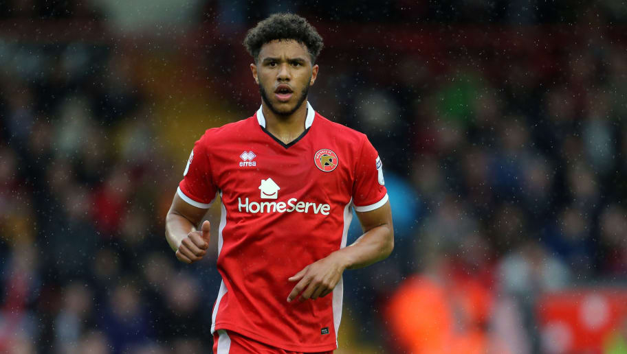 WALSALL, ENGLAND - OCTOBER 07: Tyler Roberts of Walsall during the Sky Bet League One match between Walsall and Shrewsbury Town at Banks' Stadium on October 7, 2017 in Walsall, England. (Photo by James Baylis - AMA/Getty Images)