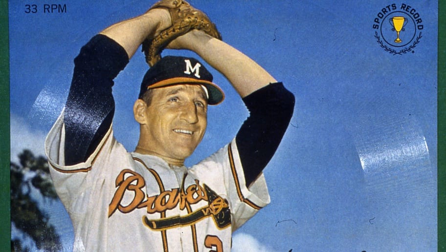 MILWAUKEE - 1961.  Warren Spahn with the Milwaukee Braves appears on this collectors phonograph record in 1961.   (Photo by Mark Rucker/Transcendental Graphics, Getty Images)