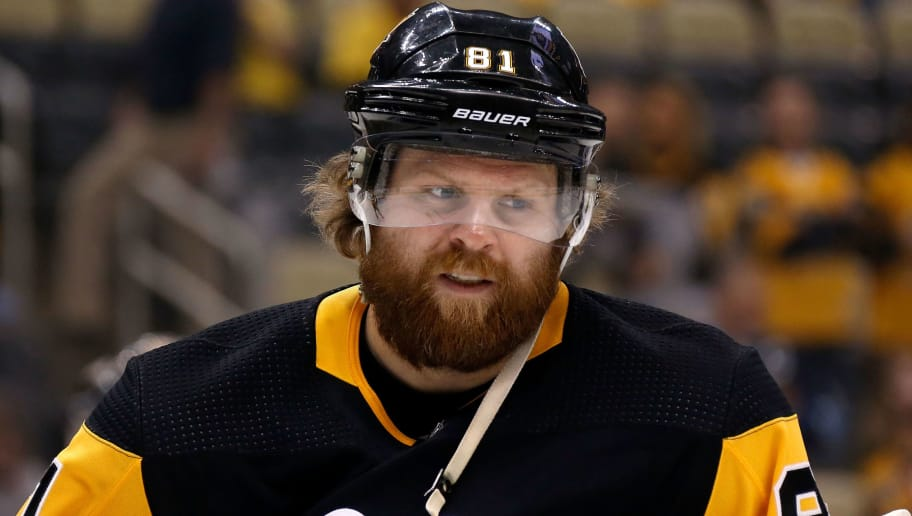 PITTSBURGH, PA - MAY 03:  Phil Kessel #81 of the Pittsburgh Penguins warms up prior to the start of Game Four of the Eastern Conference Second Round during the 2018 NHL Stanley Cup Playoffs against the Washington Capitals at PPG PAINTS Arena on May 3, 2018 in Pittsburgh, Pennsylvania. (Photo by Kirk Irwin/Getty Images) *** Local Caption *** Phil Kessel
