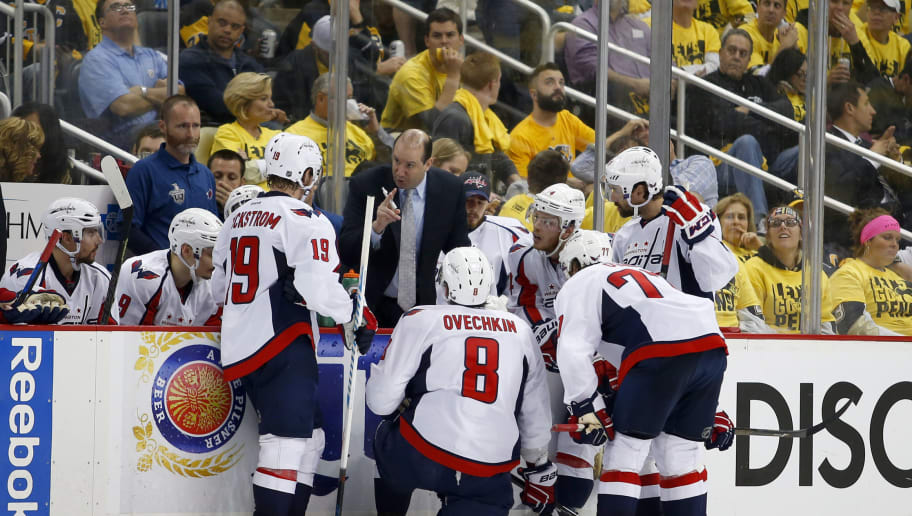 PITTSBURGH, PA - MAY 10:  Assistant coach Todd Reirden of the Washington Capitals talks to the power play unit during a time-out against the Pittsburgh Penguins in Game Six of the Eastern Conference Second Round during the 2016 NHL Stanley Cup Playoffs at Consol Energy Center on May 10, 2016 in Pittsburgh, Pennsylvania.  (Photo by Justin K. Aller/Getty Images)