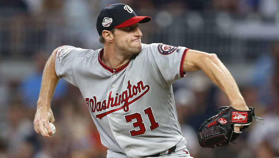 ATLANTA, GA - SEPTEMBER 14:  Pitcher Max Scherzer #31 of the Washington Nationals throws a pitch in the first inning during the game against the Atlanta Braves at SunTrust Park on September 14, 2018 in Atlanta, Georgia.  (Photo by Mike Zarrilli/Getty Images)