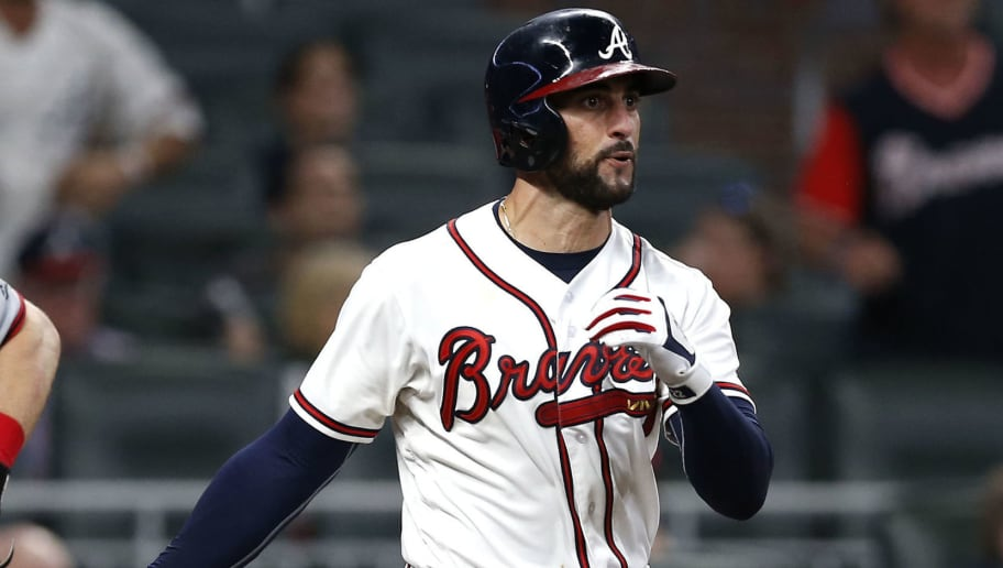 ATLANTA, GA - SEPTEMBER 14:  Right fielder Nick Markakis #22 of the Atlanta Braves hits a 2-run RBI single in the eighth inning during the game against the Washington Nationals at SunTrust Park on September 14, 2018 in Atlanta, Georgia.  (Photo by Mike Zarrilli/Getty Images)