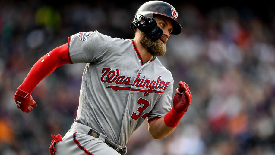 DENVER, CO - SEPTEMBER 30:  Bryce Harper #34 of the Washington Nationals runs out a ninth inning double against the Colorado Rockies at Coors Field on September 30, 2018 in Denver, Colorado.  (Photo by Dustin Bradford/Getty Images)