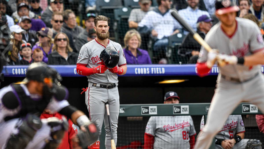 DENVER, CO - SEPTEMBER 30:  Bryce Harper #34 of the Washington Nationals warms up in the on deck circle before batting against the Colorado Rockies in the ninth inning of a game at Coors Field on September 30, 2018 in Denver, Colorado.  (Photo by Dustin Bradford/Getty Images)