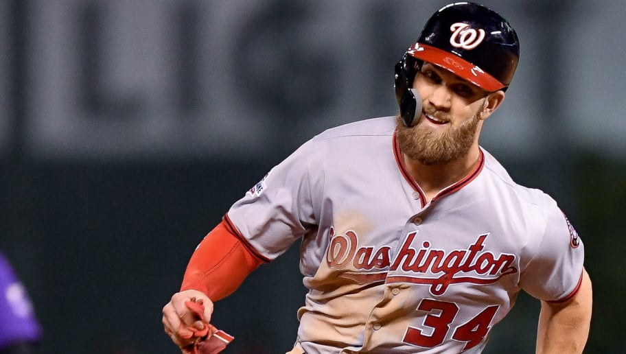 DENVER, CO - SEPTEMBER 29:  Bryce Harper #34 of the Washington Nationals runs as he scores from first base in the eighth inning during a game against the Colorado Rockies at Coors Field on September 29, 2018 in Denver, Colorado.  (Photo by Dustin Bradford/Getty Images)