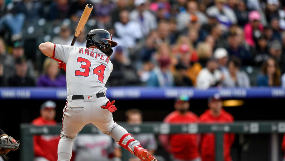 DENVER, CO - SEPTEMBER 30:  Bryce Harper #34 of the Washington Nationals bats against the Colorado Rockies in the ninth inning of a game at Coors Field on September 30, 2018 in Denver, Colorado.  (Photo by Dustin Bradford/Getty Images)