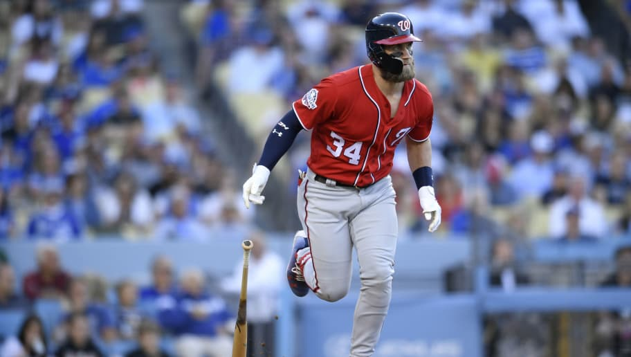 LOS ANGELES, CA - APRIL 22: Bryce Harper #34 of the Washington Nationals runs to first base in the fifth inning against the Los Angeles Dodgers at Dodger Stadium on April 22, 2018 in Los Angeles, California. The Dodgers won 4-3 (Photo by John McCoy/Getty Images) *** Local Caption *** Bryce Harper